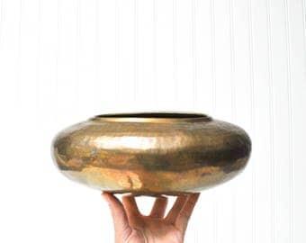 Vintage Hammered Brass Oval-Shaped Planter or Vase