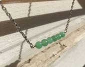 DISCONTINUED/FINAL CHANCE/Layering Necklace/Semi Precious Green Aventurine Bar Necklace/Simple, Casual, Minimalist, Everyday, Elegant