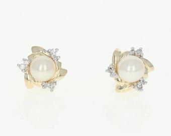 Cultured Pearl & Diamond Stud Earrings - 14k Yellow Gold Pierced U1949