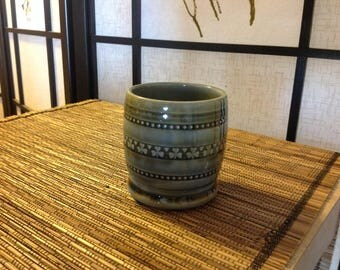 Irish Porcelain cup, 3 inches tall, 6 oz capacity, traditional blue-green glaze