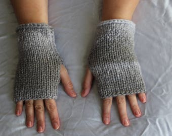 Fingerless Gloves - Gray Gloves - Wrist Warmers -  Ready to ship