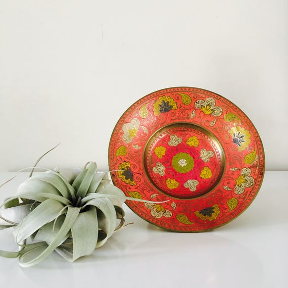Vintage Pink Enamel Brass Bowl Round Floral Decorative Metal Cloissone Pedestal Bowl Ornate Flower Motif Yellow Chartreuse Slate Blue