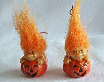 Trolls Hook Earrings Orange Hair Jack o Lantern Pumpkin Halloween