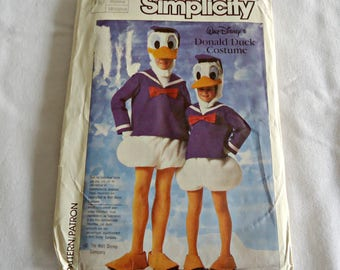 Simplicity 7731 Sewing Pattern Donald Duck Costume Boys Girls Sizes 6 8 Medium