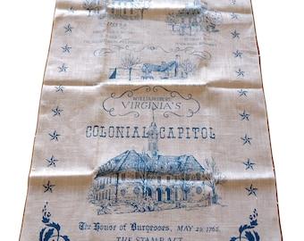 Tea Towel Souvenir Williamsburg Virginia's Colonial Capital  Vintage Tea Towel Kay Dee Linen