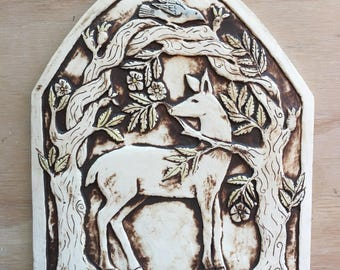 Deer tile arch handmade tile in porcelain for wall hanging or installation