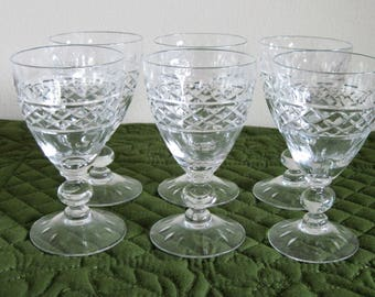 6 Vintage Mid Century Tiffin Crystal Small Wine Sherry Glasses Criss Cross Cuts Ovals Cut Foot Glasses Circa 1950's