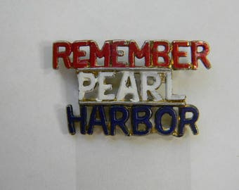 WWII Homefront Jewelry, Remember Pearl Harbor Pin