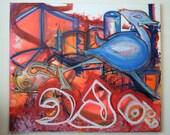 Graffiti Art on Canvas - Untitled *ORIGINAL Black Light reactive ARTWORK* by Vinni Kiniki 70cm x 60cm black light neon