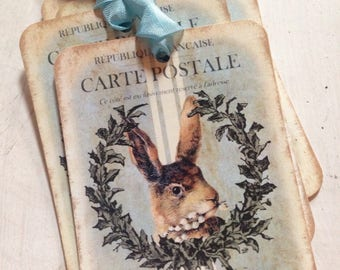 Gift Tags Rabbit Tags Spring Tags Easter Rabbit tags Bunny Tags Easter Basket Tags Set of 4