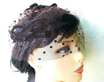 1/2 Off SALE Birdcage Veil, Black Velvet 50s Net Cocktail Hat