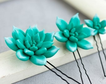 3 pcs Turquoise Succulent Hair Pins Hairpin Set Polymer Clay Bobby Pins Decoration Accessory Women Handmade Decoration Wedding Bridal Hair