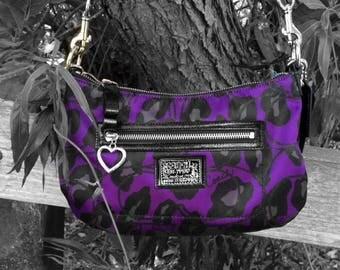 Coach Black and Purple Canvas leopard canvas shoulder hobo bag