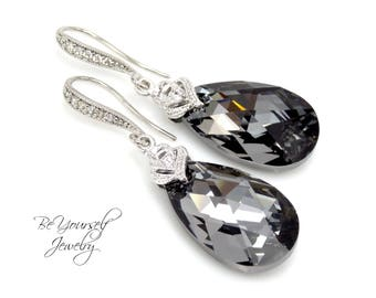 Dark Gray Bridal Earrings Charcoal Teardrop Bride Earrings Wedding Jewelry Swarovski Crystal Silver Night Earring Grey Black Bridesmaid Gift