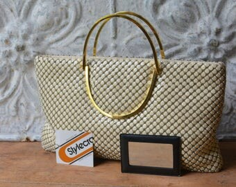 1980's White Metal Mesh Handbag By Stylecraft