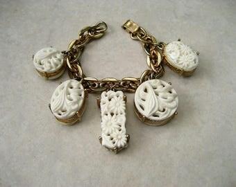 Vintage Selro Charm Bracelet White Pierced Floral Lucite