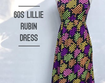 Vintage 60s Lillie Rubin mod summer dress- 1960s vibrant colorful designer sundress - M