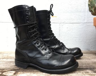 9.5 D | Vintage Corcoran Jump Boots Black Paratrooper Cap Toe Military Boots