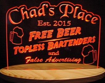 Bar Sign Acrylic Lighted Edge Lit LED Sign Plaque (Choose your text) Chads Full Size Made in the USA