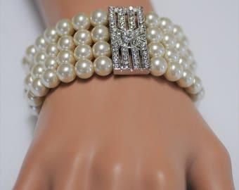 Bib Bracelet, Stretch Bracelet, Pearl Bracelet, Multi strand Bracelet, Chunky Bracelet, Gift for her, Wedding bridemade bracelet