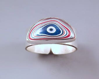 Fordite- Detroit Agate- Cute Little Bull's Eye- Blue Fordite-Michigan Made- Fordite Silver Ring