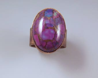 Purple Turquoise- Multi Color Swirl Patina- One of a Kind- Metal Art RedPaw Ring