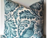 Blue French Country Pillow Cover Tucker Resist Decorative Pillow Blue Batik Cover Blue Bird 0