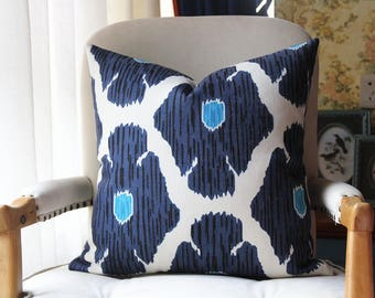 john robshaw poppy pillow cover in Blue, Decorative Throw Pillow, Accent Cushion Cover, Home Decor, Pillow Covers, 449