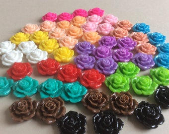Set Of 120 Rose Cabochons Mixed Set Of Resin Cabochons Rose Flatback Cabs DIY Jewelry Making Resin Flowers Large Cabs 16mm Roses