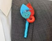 Modern Wedding Buttonhole for the Groom / Best Man in Turquoise and Red Keepsake
