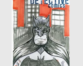 Batman / DC Comics / Sketch Cover / Variant Cover / Hand Painted Comic Book / Hand Drawn / Original Art / Pen and Ink / Markers