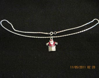 HADNMADE Simple Christmas Silver Chain Necklace with Charm on it...Santa in Chimney.18""