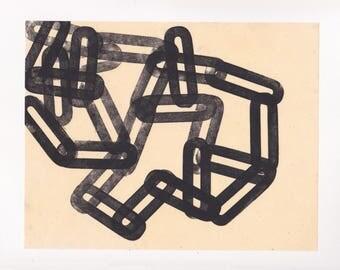 "Monoprint. Black and White Letterpress Graphic Art: ""eighteen"". Size 11"" x 10"". unframed"