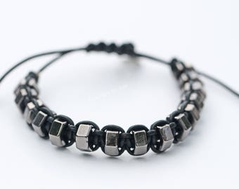 Mens Unisex Gun Metal 'Nuts' Leather Bracelet Father's Day Birthday Gift