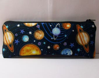 """Planets Pipe Pouch, Space Pipe Case, Glass Pipe Bag, Padded Pipe Pouch, Stoner Gift, Vape Pen Case, 420, Weed, Smoke Accessory - 7.5"""" LARGE"""