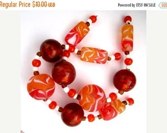 """Great Sale TANGERINE LAMPWORK .Beads - - Beads From 1/2"""" to 1"""" With Spacer Beads"""