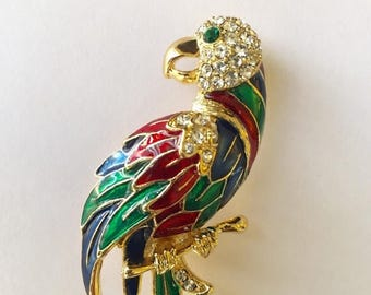 """Great Sale Big Parrot Pin Enamel and Crystal Accessory for Purse Tote Scarf Outfit Hat Or Wedding Bouquet 3 1/2""""  x 1"""""""