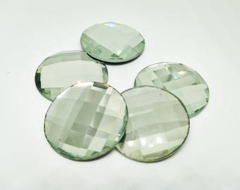 Clear Faceted Glass Cabochon Cab 29mm Round Checker Diamond Dome