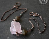 Raw Turkish Delight Rose Quartz Necklace with African Turquoise and Czech Glass Lanterns. Sindris Forge.