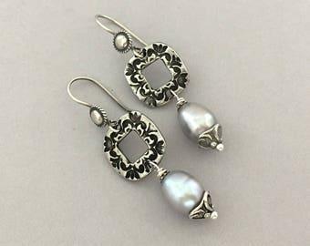 Everyday Earrings for Women - Dangle Drop Earrings - Pearl Earrings - Handmade Silver Earrings - Gift for Her - Chic Pierced Earrings
