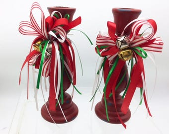 Red Wooden Candlesticks with Holiday Bows