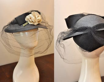 1940s black hat | 40s straw hat with floral detail | full facial netting and oversized bow