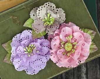 Tan Pink Lavender Fabric Flowers Tiara Aqua 567170 - Eyelet lace cotton fabric flowers  (3 pcs) embellishment hair hat vintage