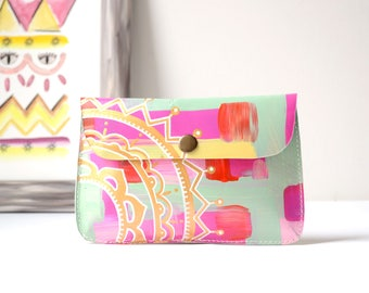 Hand Painted Leather Phone Case Wallet, Small Wallet Clutch, Colorful Unique Gift For Her, Mother's Day Gift, Valentines Day Girlfriend Gift