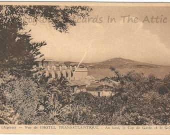 Transatlantic Hotel in France at Bottom of Gulf in French Vintage Postcard