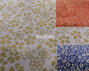 Gold-metallic cherry blossom, 1/2 yard, pure cotton fabric