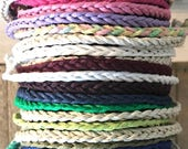 Earth Friendly- Simple Braid - Tie On Bracelet or Anklet- Kids to Adults Sizes - 32 Colors