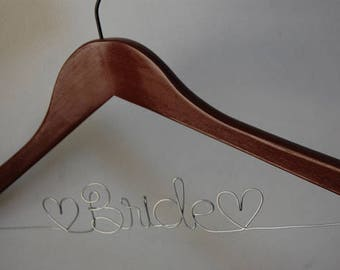 Brides Robe Hanger, Wedding Dress Hanger, Wire Bride Hanger, Gift Under 30, Wedding Shower Gift, Dark Wood Hanger, Display for Wedding Gown