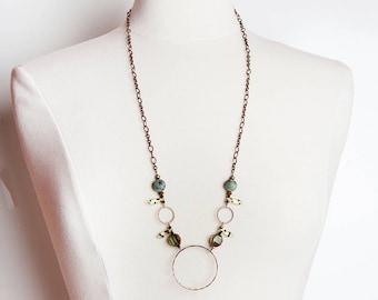 Green Copper Necklace, Green, Copper Necklace, Circle Necklace, Circle Pendant Necklace, Beaded Necklace, Turquoise Necklace, boho necklace