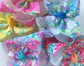 """Lilly Pulitzer inspired bows hairbows 6 prints available -- choose 4"""", double stacked or 7"""" bows -- AMAZING quality handmade in Tennessee"""